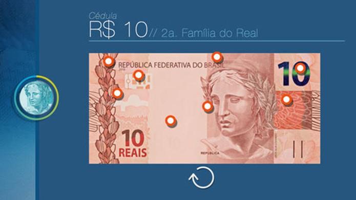 Dinheiro Brasileiro para Android e iOS mostra pontos importantes para identificar cédulas verdadeiras (Foto: Divulgação/App Store)