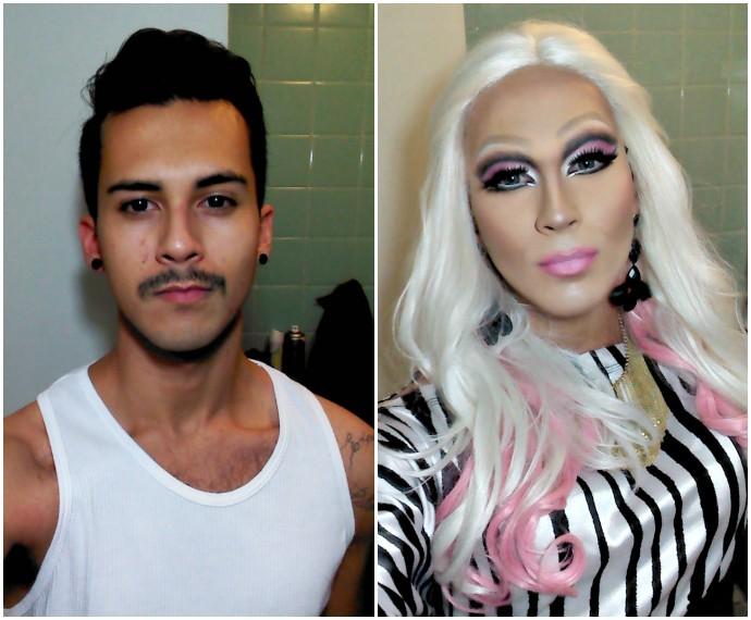 Rafael Mello passo a passo maquiagem drag queen Mistura com Rodaika Sarah vika (Foto: Montagem sobre fotos de Arquivo Pessoal)