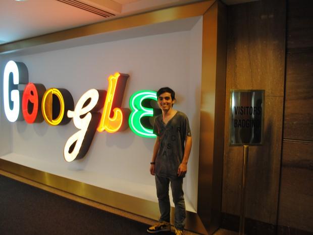Lucas Sperb durante sua visita a sede da Google, nos EUA (Foto: Arquivo pessoal)