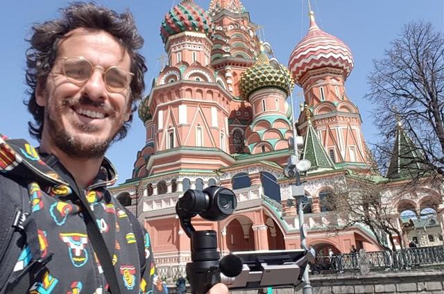 Rodrigo Cebrian em Moscou (Foto: Arquivo Pessoal)