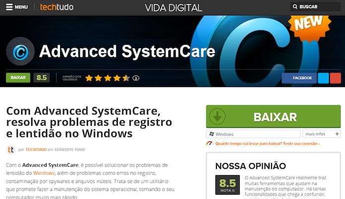 Baixando o Advanced SystemCare (Foto: Reprodução/Helito Bijora)