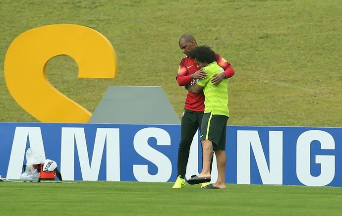 Marcelo e Jefferson no treino da Seleção (Foto: Mowa Press)