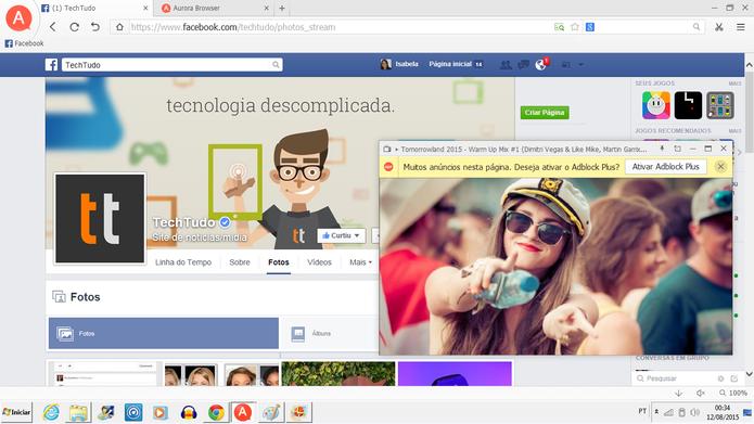 Aurora Browser (Foto: Reprodução/Isabela Giantomaso)