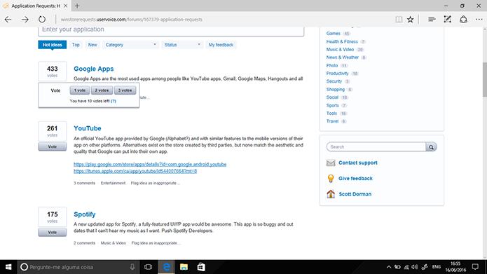 Usuário pode votar em sugestões de outros usuários de apps para Windows 10 (Foto: Reprodução/Elson de Souza)