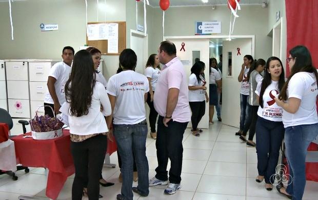 Secretaria Municipal de Saúde de Rio Branco organizou ação de combate a Aids nesta terça-feira (2) (Foto: Jornal do Acre)