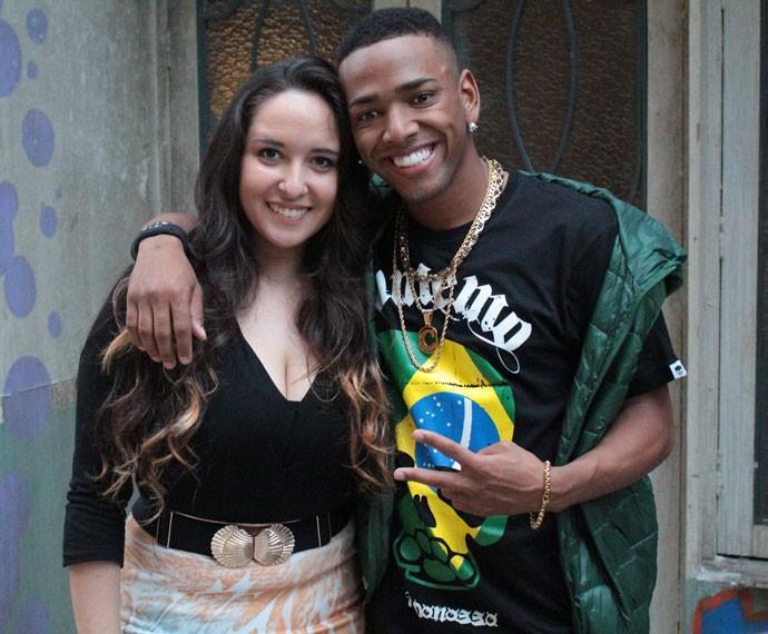 Mayara e Nego do Borel nos bastidores da gravação (Foto: Bel Bonotto/Gshow)