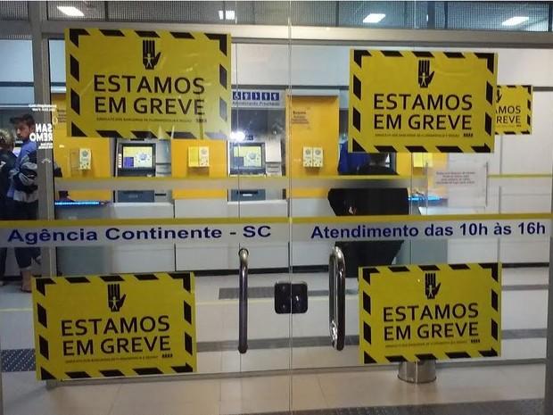 Agências da Grande Florianópolis estão sinalizadas para início da greve (Foto: Sincato dos Bancários/Divulgação)