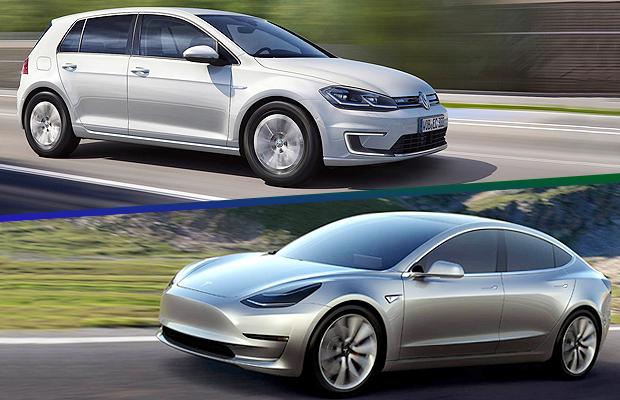 Volkswagen e-Golf e Tesla Model 3 (Foto: Autoesporte)