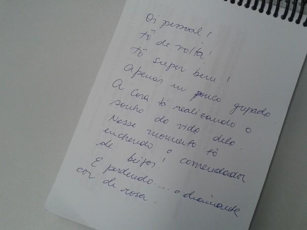 Drica Moraes escreve recadinho fofo para o público (Foto: Gshow)