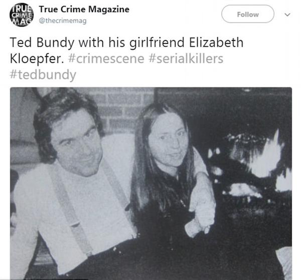 O verdadeiro Ted Bundy, que será interpretado no cinema por Zac Efron, com a namorada (Foto: Twitter)