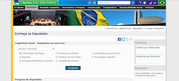 O site da Câmara dos Deputados permite fazer buscas sobre os projetos e votos de cada parlamentar, além de seus votos (Foto: Reprodução)
