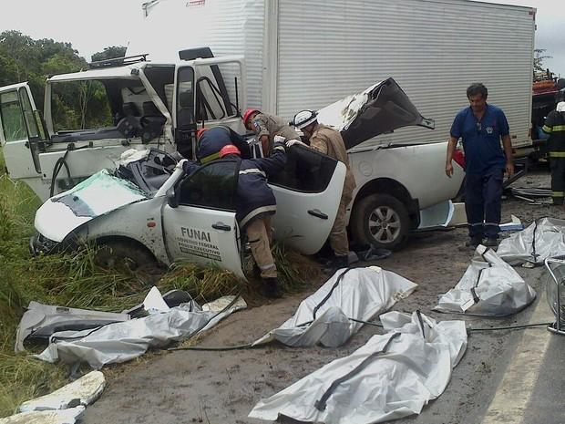 Cacique está entre os mortos de acidente com carro da Funai (Foto: Natália Souza/G1)