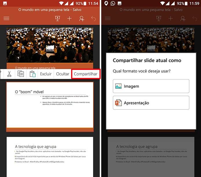 Usuário pode escolher o formato no qual irá compartilhar slide do PowerPoint (Foto: Reprodução/Elson de Souza)