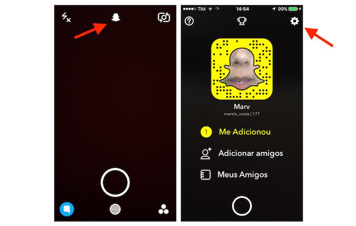 Acessando as configurações do Snapchat para limpar o cache da recurso Memories (Foto: Reprodução/Marvin Costa)
