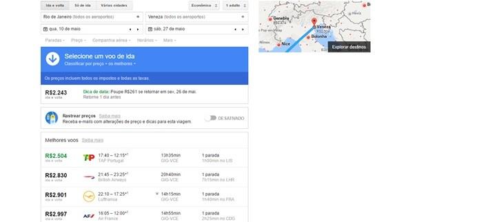 Google Flights exibe passagens mais baratas em resultado de busca