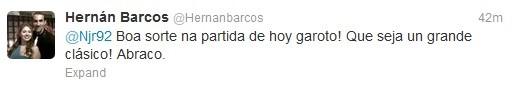 """Pelo microblog, Pirata desejou sorte ao """"garoto"""" Neymar (Foto: Reprodução)"""