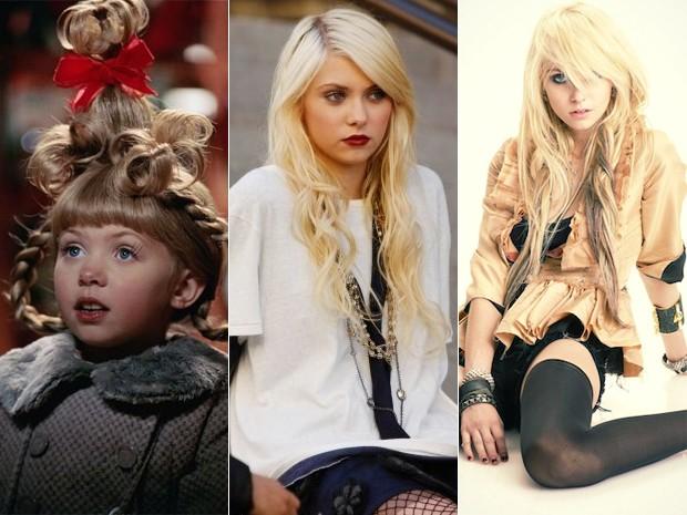 Taylor Momsen no filme 'O Grinch' (2000), em 'Gossip Girl' (2007) e em foto do The Pretty Reckless (Foto: Divulgação)