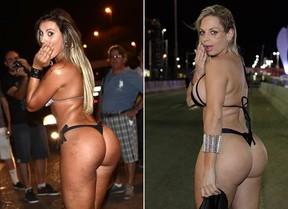 Andressa Urach e Jéssica Lopez no Rock in Rio (Foto: Iwi Onodera / EGO - Isac Luz / EGO)