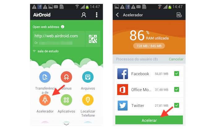 Utilizando o acelerador do AirDroid para melhorar o desempenho de um dispositivo Android (Foto: Reprodução/Marvin Costa)