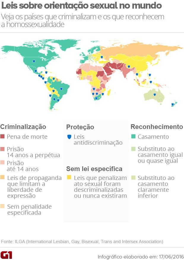 Mapa leis sobre relações homossexuais no mundo (Foto: Editoria de arte/G1)