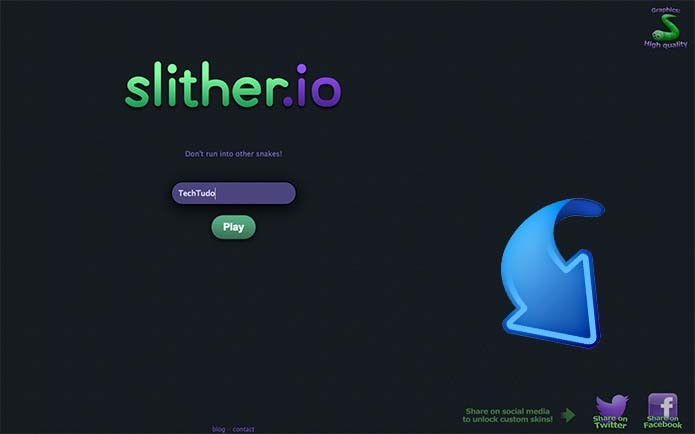 Clique em uma das redes sociais para destravar as skins de Slither.io (Foto: Reprodução/Murilo Molina)