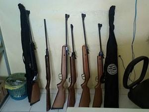 Rifles também foram apreendidos durante operação (Foto: Divulgação/Ibama)