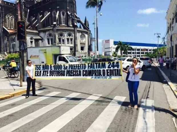 Protesto pede nomeação de guardas municipais aprovados em concurso em Fortaleza (Foto: Arquivo Pessoal)