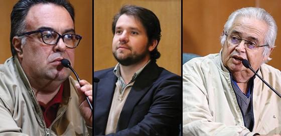 Deputados André Vargas, Luiz Argôlo e Pedro Corrêa em depoimento à CPI da Petrobras (Foto: Agência O Globo)