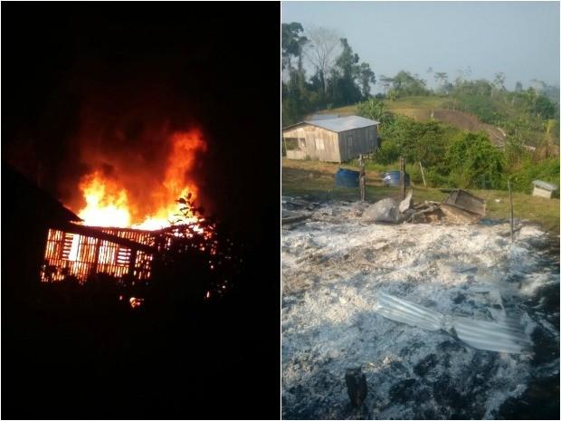 Após incêndio cada ficou completamente destruída (Foto: Paulo da Silva/Arquivo Pessoal)