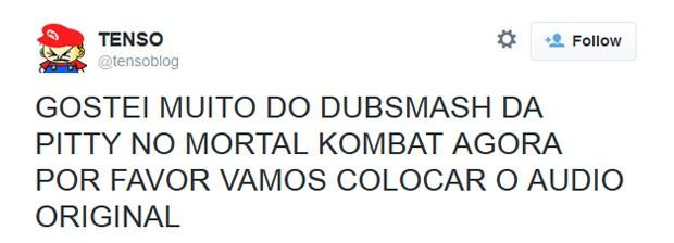 Blog reclama de dublagem de Pitty no game 'Mortal Kombat X' (Foto: Reprodução/Twitter)