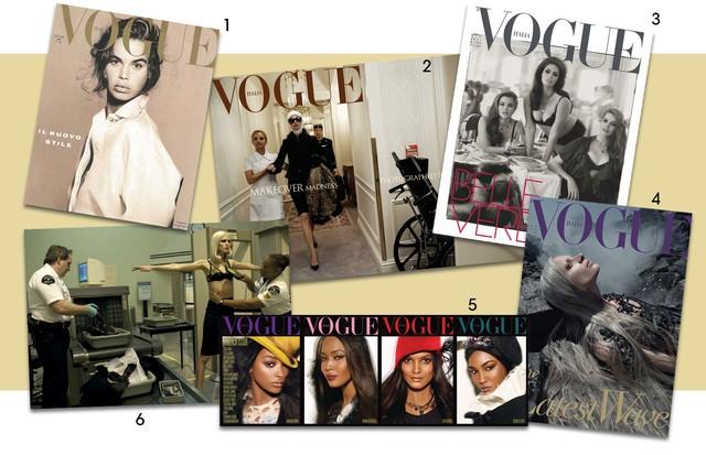 1. Capa de estreia de Meisel e Franca na Vogue italiana,em 1988 2. o fenômeno das cirurgias plásticas virou capa em julho de 2005 3.edição estrelada por modelos plus-size de junho de 2011 4. a polêmica capa de agosto de 2010,do editorial Water and oil 5.  (Foto: Divulgação )