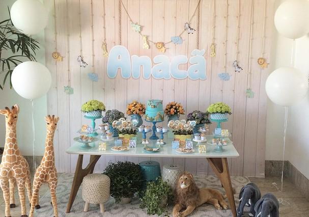 A decoração safári do chá de bebê  (Foto: Reprodução Instagram )