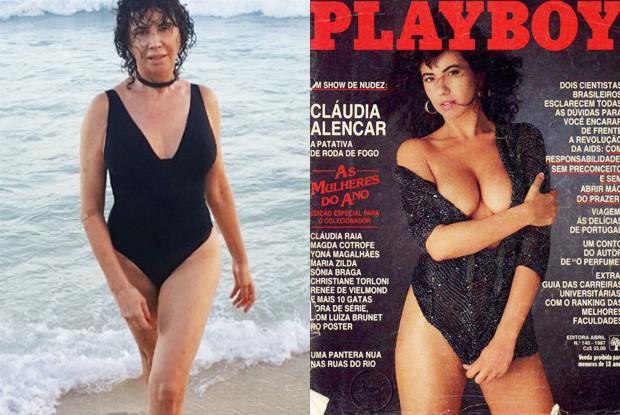 Cláudia Alencar em 2017 e em 1987, quando foi capa da 'Playboy' (Foto: Reprodução e Divulgação/Playboy)