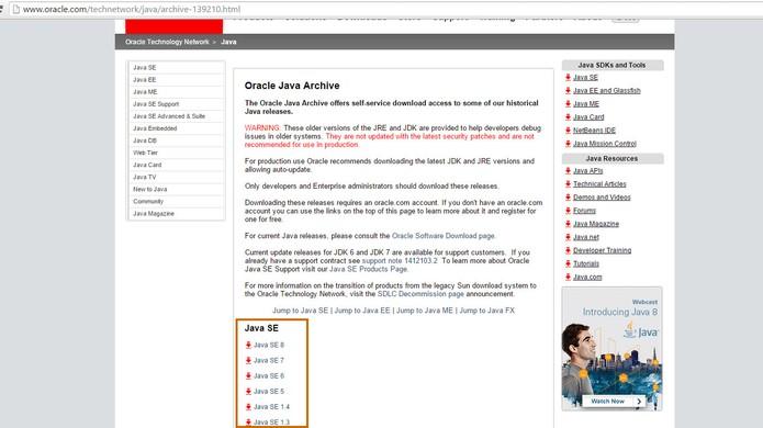 Versões anteriores do Java