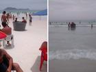 Caixa d'água vira 'piscina improvisada' na Praia do Forte em Cabo Frio, RJ