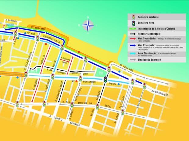 Avenida Raimundo Girão terá sentido único em trecho de Fortaleza (Foto: Divulgação)