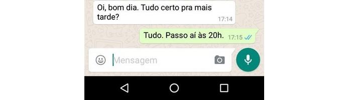 Mensagem do WhatsApp respondida pelas notificações do Android (Foto: Reprodução/Raquel Freire)
