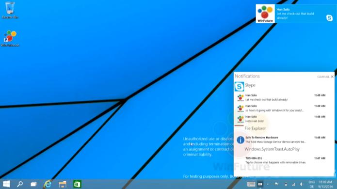 Central de notificações é uma das novidades do Windows 9 (Foto: Reprodução/WinFuture)