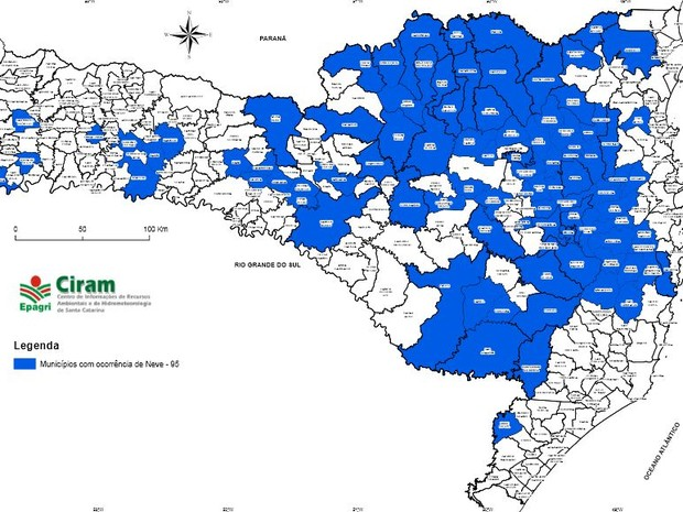 Neve foi confirmada em 95 cidades de Santa Catarina (Foto: Epagri/Ciram/Divulgação)