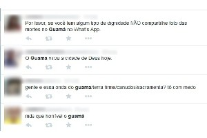 Comentários nas redes sociais após assassinato de Ex-PM no bairro do Guamá, em Belém (Foto: Reprodução/Twitter)