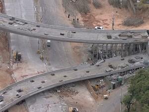 Trabalhos de demolição do viaduto devem começar nesta segunda (7).  (Foto: Reprodução/TV Globo)