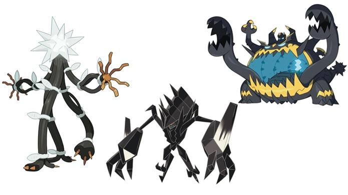 As Ultra Beasts UB-03 Lightning à esquerda e UB-05 Glutton à direita unem-se ao novo misterioso monstro no meio em Pokémon Sun & Moon (Foto: Reprodução/Gematsu)
