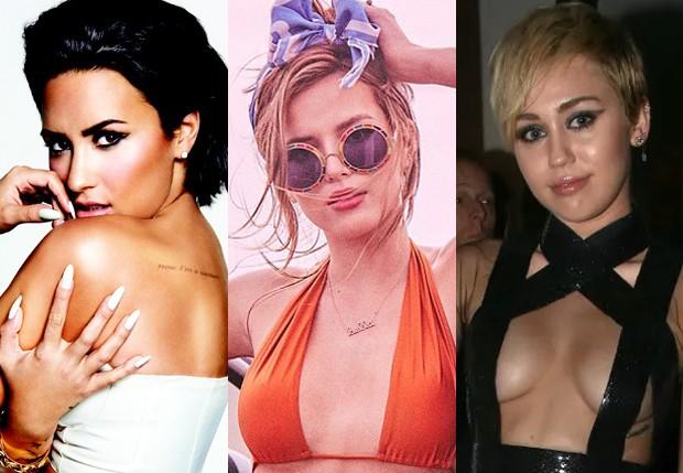 Demi Lovato, Bella Thorne e Miley Cyrus (Foto: Reprodução e Getty Images)