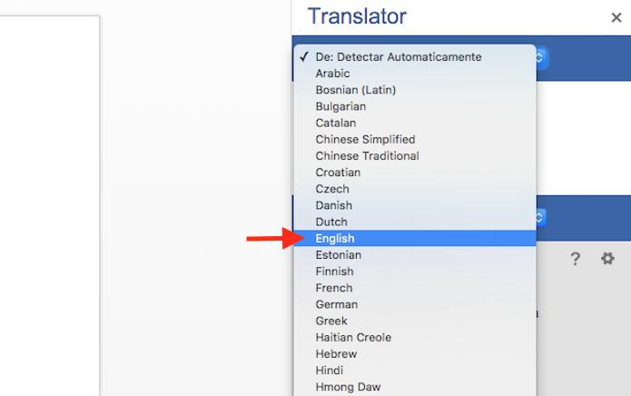 Definindo o Inglês como idioma de entrada do tradutor de textos do Word Online (Foto: Reprodução/Marvin Costa)