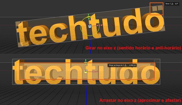 Agora movimente o texto no sentido horário, anti-horário ou aproximando e afastando (Foto: Reprodução/Bárbara Mannara)