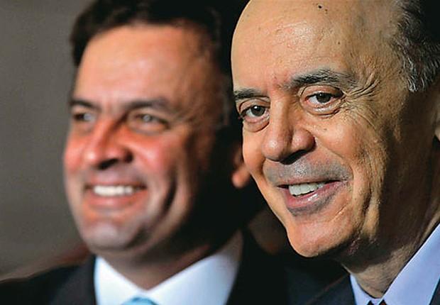 Os tucanos José Serra e Aécio Neves durante campanha presidencial (Foto: Agência Brasil)