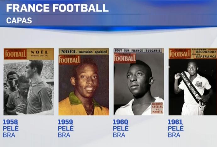 Montagem de capas da France Football com os prêmios do Rei Pelé (Foto: Reprodução SporTV)