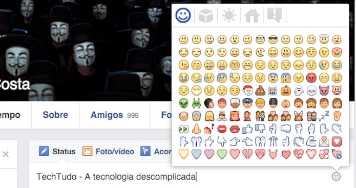 Utilizando os emoticons secretos do Facebook (Foto: Reprodução/Marvin Costa)