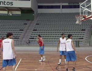 Equipe de basquete do Internacional de Regatas estreia no Paulista (Foto: Reprodução: Tv Tribuna)