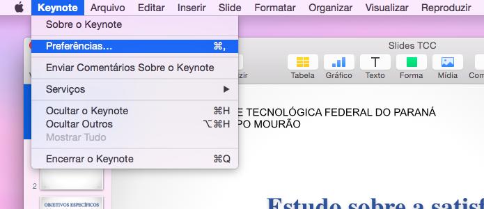 Acesse as configurações do Keynote no Mac OS X (Foto: Reprodução/Helito Bijora)